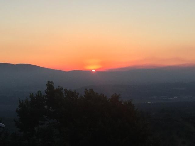 Smuk solnedgang fra restaurant i Citta della Pieve